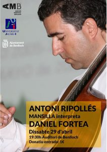 """Cartell de l'acte """"Antoni Ripollés interpreta Daniel Fortea"""""""