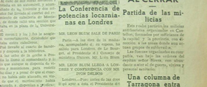 Heraldo de Castellón, 25 de julio de 1936