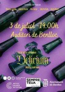 OBRA DE TEATRE : DELIRIUM-AUDITORI DE BENLLOC -3 JULIOL-19:00H