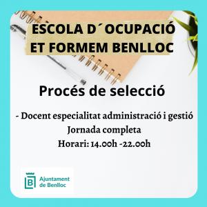 NOU PROCÉS DE SELECCIÓ DOCENT ESPECIALITAT ADMINISTRACIÓ I GESTIÓ